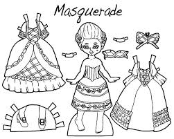 Design A Outfit Masquerade Doll Dress Colouring Page