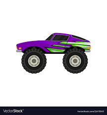 100 Purple Monster Truck Flat Icon Of Purple Monster Truck Cartoon Vector Image