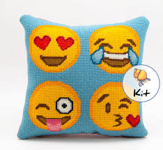 Needlepoint Emoji Pillow Kit Modern Easy Needlepoint Diy Kit