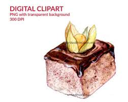 Chocolate pastry with ground cherry Digital illustration watercolor clip art with transparent background