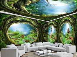 3d Wall Murals Wallpaper Custom Picture Mural Dream Animal World Forest House Painting Tv Background Home Decor Free High Resolution