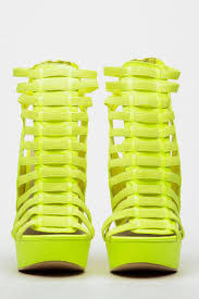 neon yellow faux leather strappy platform heels cicihot heel