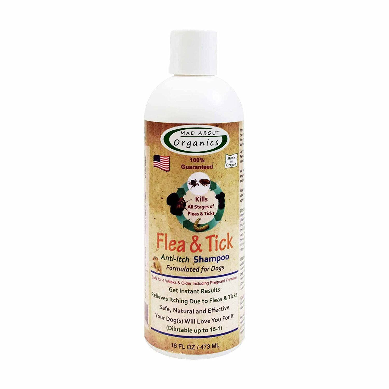 Mad About Organics All Natural Dog Puppy Flea & Tick Shampoo Concentrate 16oz