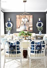 Blue White Dining Room Christmas Home Tour And Entryway Best Decor