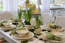 Captivating Easter Dining Table Setting With Natural Floral Centerpiece And Green Napkins