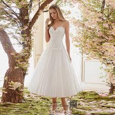 Rustic Vintage Tea Length Wedding Dress Lace 2017 Short Bride Dresses Spaghetti Straps Gowns Vestido