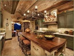 Marble Countertop And Butcher Block Top For Island Range Hood With Hanging Pans Rustic Kitchen Cabinets Brick Ceiling Green Distressed