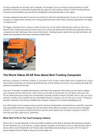 100 Worst Trucking Companies To Work For The Best Paying Awards The