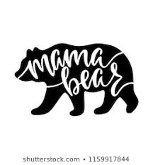 Mama Bear Inspirational Quote With Silhouette Hand Writing Calligraphy Phrase Vector Illustration