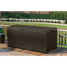 suncast 73 gallon java resin wicker storage seat deck box with