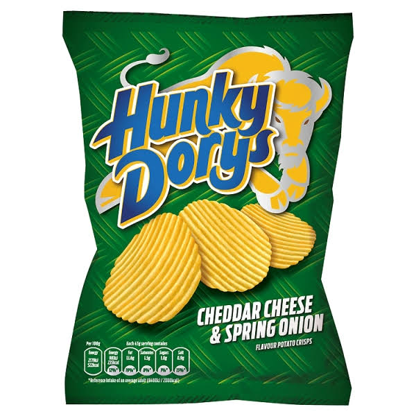 Hunky Dorys Crisps - Cheddar Cheese & Spring Onion, 45g