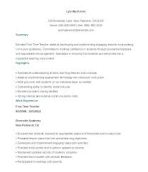 Sample Resume Of A Teacher Substitute Adjunct Faculty