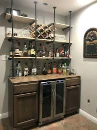 Bar Wall Shelves Gas Pipe Over Rustic Wet