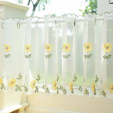 White Sheer Curtain Embroidery Sunflower Half Cafe Rural Daisy Window