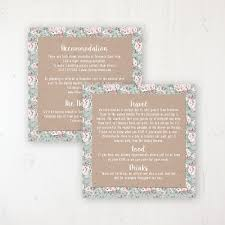 Rustic Barn Wedding Info Insert Card Personalised Front Back