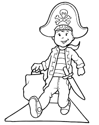 A Kid Trick Or Treating In Pirate Costume Is Great Printable Coloring Sheet Activity For All Young Kids Who Adore Pirates
