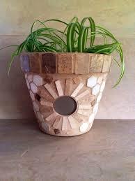 Mosaic Flower Pot Large Planter Outdoor Patio Indoor Glass Plant Storage Rustic Kitchen Handmade Garden