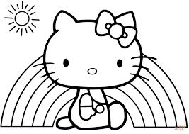 Hello Kitty Rainbow Cartoon Coloring Page