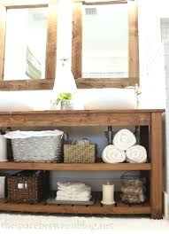 34 Rustic Bathroom Vanities And Cabinets For A Cozy Touch Digsdigs Open Shelf Vanity Reclaimed