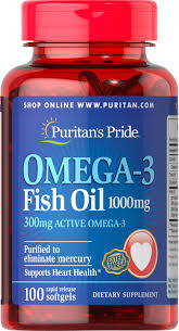 Omega-3 Fish Oil 1000 Mg, Active Omega-3 100 Softgels ...