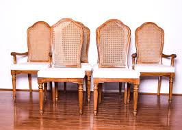 Set Of Six Thomasville Cane Back Dining Chairs On Room