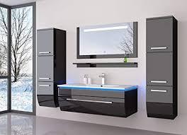 homeline badmöbelset 60 cm schwarz vormontiert badezimmermöbel waschbeckenschrank mit waschtisch spiegel zwei hochschränken mit led hochglanz badmöbe
