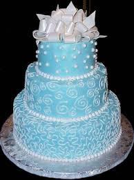 1 beautiful white and blue wedding cakes 1