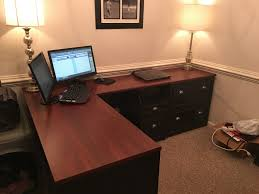 Bush Cabot L Shaped Desk Dimensions by Bush Fairview Computer Desk And Optional Hutch In Antique Black