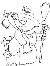 Snowman And Animals Coloring Pages Free