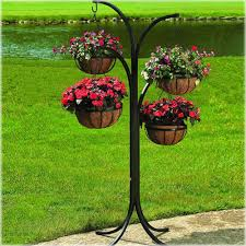 Patio Plant Stand Uk by New Hanging Basket Planter Wrought Iron Free Standing Lawn