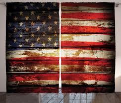 abakuhaus amerikanische flagge rustikaler gardine vintage aus holz schlafzimmer kräuselband vorhang mit schlaufen und haken 280 x 260 cm