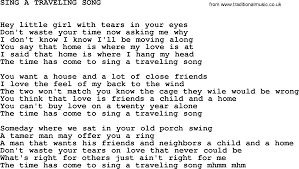 Johnny Cash song Sing A Traveling Song lyrics