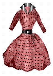 Vintage Pink Polka Dot Dress With Belt Royalty Free Vector Clip Art