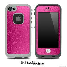 Neon Pink Cracked Skin for the iPhone 5 or 4 4s LifeProof Case