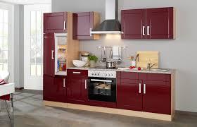 küchenzeile varel küche mit e geräten breite 270 cm hochglanz bordeaux rot