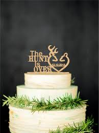 Deer Wedding Cake Topper Rustic Personalized Gold Silver