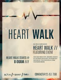 Modern And Classy Flyer Or Poster Template Design Layout To Promote A Heart Walk Fundraiser Stock