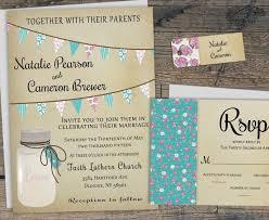 Printable Rustic Wedding Invitation Mason Jar Summer Barn Invite W Bunting Flags Backyard Country