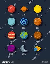 Solar System Icons Set Flat Stock Vector Shutterstock