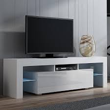 Warmiehomy 130cm Modern TV Cabinet Unit High Gloss TV Units With LED RGB Lights For Living Room White
