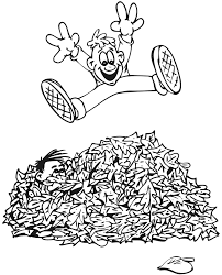 Autumn coloring page of kids playing in leaves