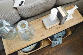 DIY Industrial Farmhouse Sofa Table Turn A Metal Shelf Into Rustic Shelving Check Out