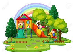 39768078 Children Playing In The Playground Outside Clipart 2