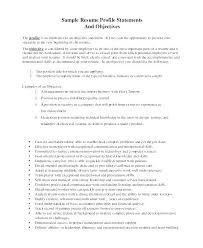 General Objective Statement For Resume Profile Statements Objectives Labor Sample