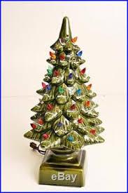 Vintage 18 CERAMIC CHRISTMAS TREE W Original Box Lighted 2 Piece Retro Lit