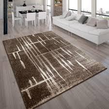 designer teppich modern trendiger kurzflor braun beige creme
