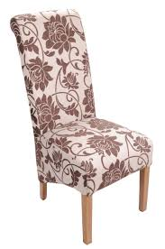 Mia Floral Jacquard Upholstered Dining Chairs Brown Cream Color Roll ...