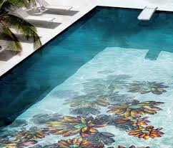 dazzling decorative mosaic pool tiles with vintage swimming pool