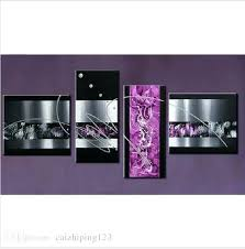 Fascinating Purple Wall Decor Handmade 4 Piece Black White Contemporary Abstract Oil Painting On Canvas