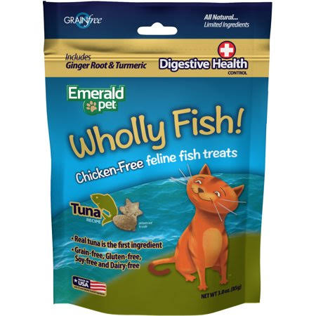 Emerald Pet Wholly Fish Chicken-free Cat Treats Tuna 3oz